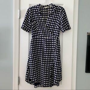 Anthro 11 1 Tylho navy dot button front wrap dress
